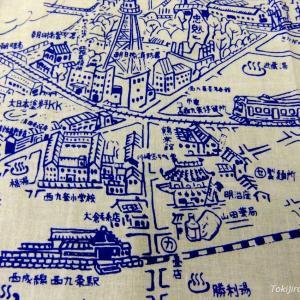 日本タオルに印刷された古い大阪