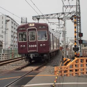 阪急電車・下新庄踏切