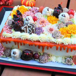 ぴよ次郎✳13歳*誕生日のハロウィンフラワーケーキ(製造過程画像付き)