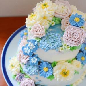 シャワーパーティー用フラワーケーキ♡2段のウェディングケーキ