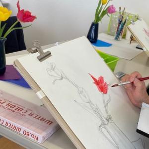 三月の絵画教室うさぎの芽