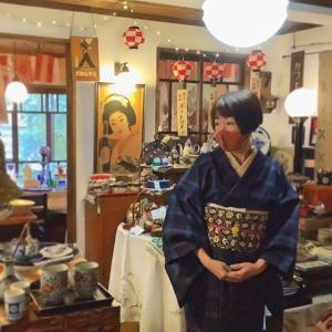 上田紬キモノ×アンティーク帯 (長野県上田市/花園商店)