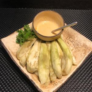 蒸しナスのピリッと味噌マヨネーズ
