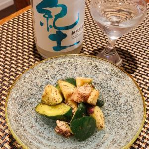 蛸と胡瓜、水ナスの和風ガリシア風、摘果西瓜の醬油漬け、冷製シラス雑炊