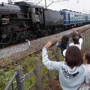 手を振る親子