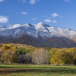 雪山と黄葉 笹葉峰牧場