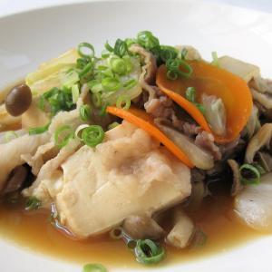 鶏がらポン酢でさっぱり肉豆腐