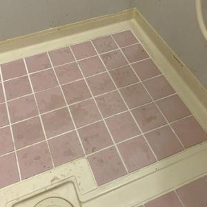 浴室の床タイルの汚れ