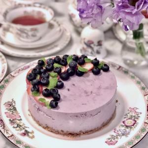 ★ハチミツだけの甘さでブルーベリーレアチーズケーキ - レシピ付