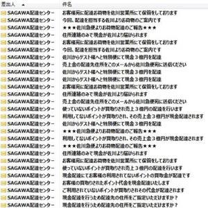 【SAGAWA配送センターを名乗るメール】が来ていました。