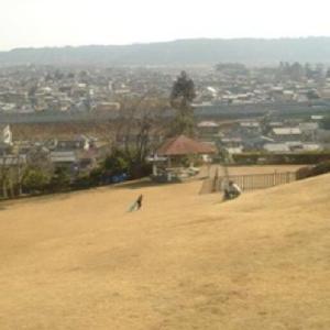 ソリ滑りが出来る芝生の斜面 天神原公園 (静岡県島田市伊太)