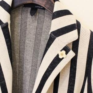 LARDINI Bold Stripe Knit Jacket Black