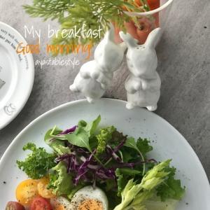 ウサギちゃんと朝ごはん