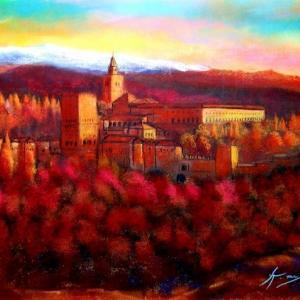 黄昏のアルハンブラ宮殿