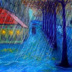 雨降るパリ