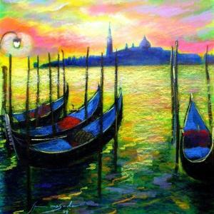 ベネチア 黄昏のゴンドラ・・・黄昏のベニスはロマンチックです・・・