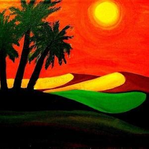 パステル画  沙 漠