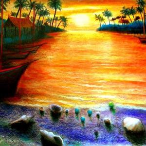 バリ島 黄昏の浜辺