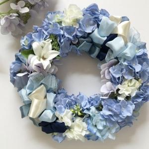アーティフィシャルフラワー 紫陽花のリース