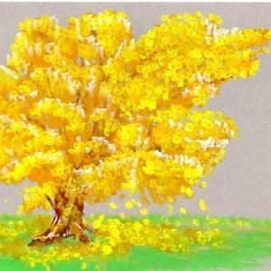 ☆★綿棒を使って画いた絵、しかも、用紙は、ボール紙です。「黄金の銀杏」メルカリにも出品しました。★☆