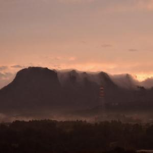 妙義山の滝雲と夕焼け・・・