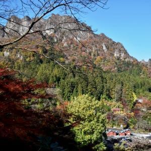 紅葉に生える妙義山(妙義神社周辺)
