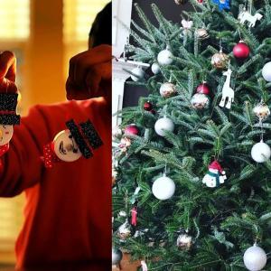 アメリカのクリスマスツリー:高さ約3メートルの生木のツリーを光るDIYオーナメントで装飾