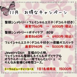 【キャンペーン】11月お得なトータルビューティーコース。1日1名様限定!