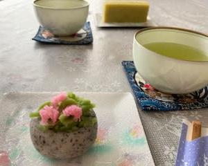 和菓子と 公園の花