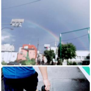 ラジオ体操。雨。虹。