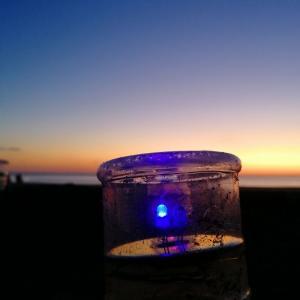夕暮れにペットボタルの灯り