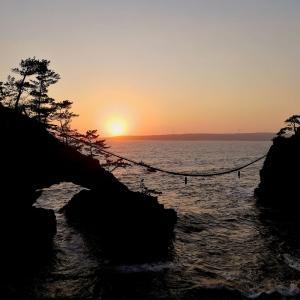 機具岩から眺める夕日