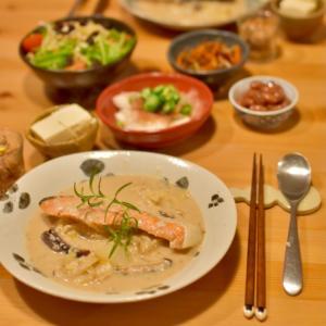 塩鮭で白菜のクリーム煮のおゆうはん 。