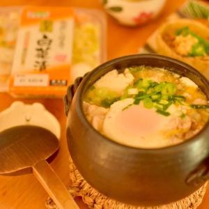 白菜漬けで辛くない和風純豆腐。