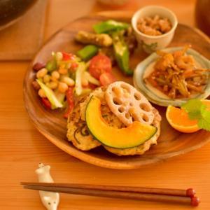 豆腐と鶏肉のハンバーグのワンプレート。