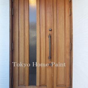 木製玄関ドア再塗装 オイル仕上げ