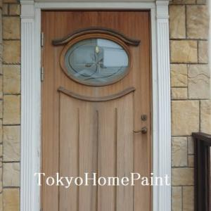 海外製木製玄関ドアのオイル仕上げ