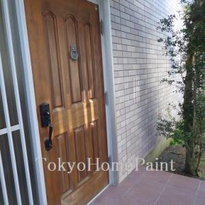 貴重なヤマハ木製玄関ドアの再塗装工事