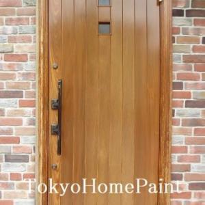 木製玄関ドアの再塗装