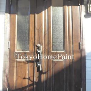 アイカ製木製玄関ドアの再塗装