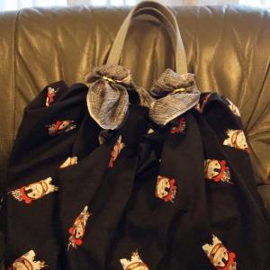 京都永楽屋さんの『犬張り子』柄風呂敷で着せ替え♪川越歩きの着物美人のふろしきぶるバッグ活用術