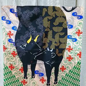 むす美さんの2021年干支風呂敷辛丑♪井砂文様研究所の粋で斬新な丑と渦巻き文様デザイン