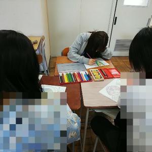 2021年度都立六本木高校「ふろしきから学ぶ日本文化」第7回授業♪ふろしきの色&平安装束ぬり絵♪