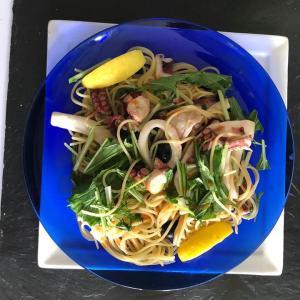 タコイカ水菜のパスタ