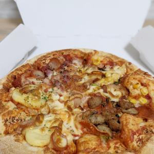 久しぶりのピザ&ヒマワリ&シェブロン模様でつくるバッグ♫