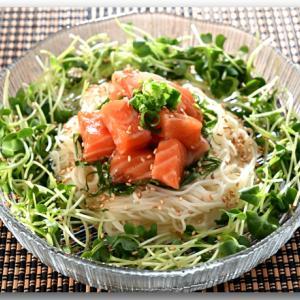 メシ通『魚介を使った簡単レシピ 』☆ ピリ辛なサーモンの漬けとそうめんのコラボ!