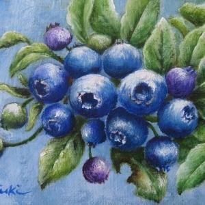 ブルーベリーの油絵