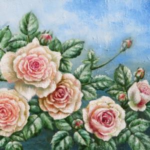薔薇の油絵「ピエール・ドゥ・ロンサール」