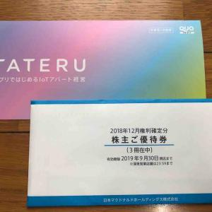 TATERUと日本マクドナルドホールディングスから株主優待が届きました