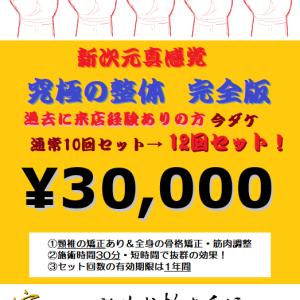 【今ダケ】「究極の整体」通常10回セット料金で→→→特別12回セット!【1年間有効】